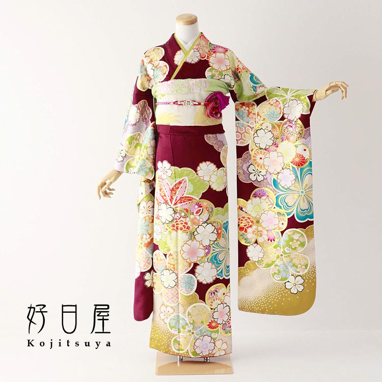 振袖 レンタル フルセット 正絹 着物 【レンタル】 結婚式 成人式 身長155-170cm 紫 pu-030-s