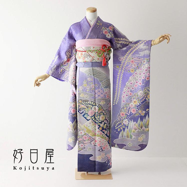 振袖 レンタル フルセット 正絹 着物 【レンタル】 結婚式 成人式 身長150-165cm 紫 pu-031-s