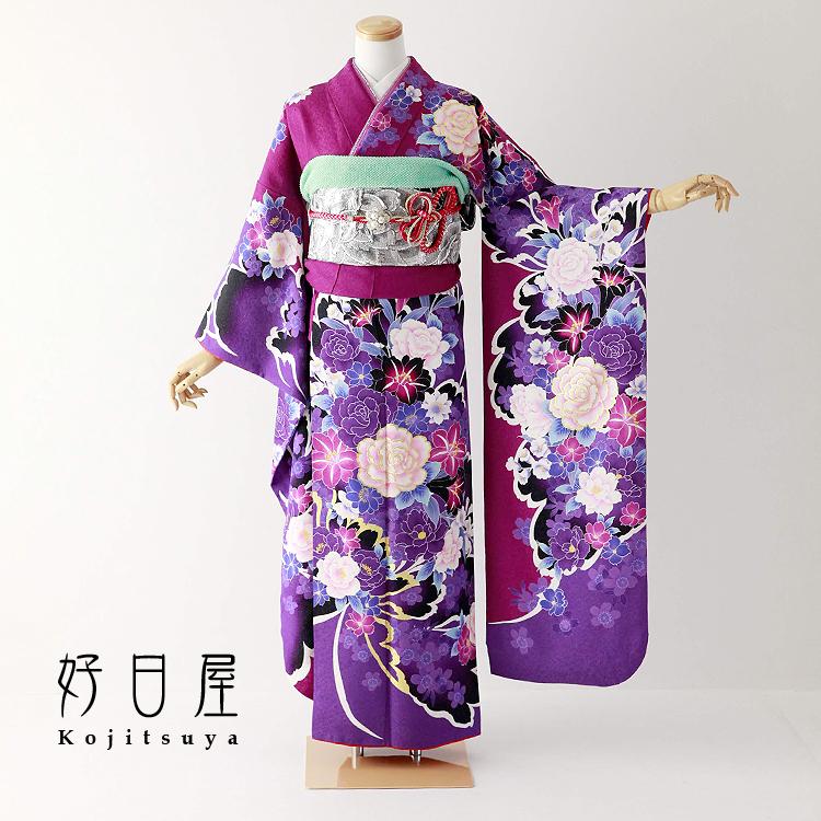 振袖 レンタル フルセット 正絹 着物 【レンタル】 結婚式 成人式 身長152-167cm 紫 pu-032-s