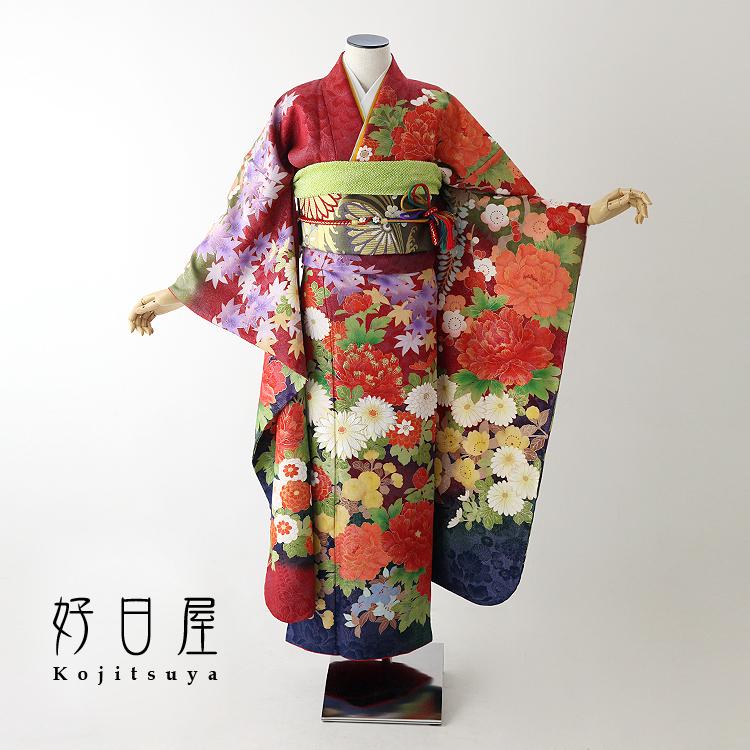 振袖 レンタル フルセット 正絹 着物 【レンタル】 結婚式 成人式 身長161-176cm 赤 re-059-s