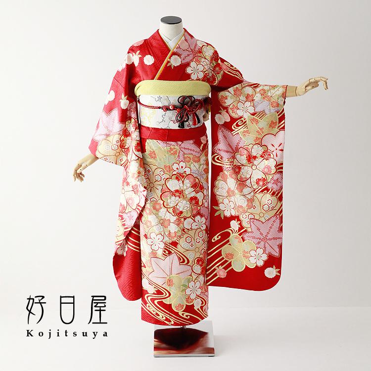 振袖 レンタル フルセット 正絹 着物 【レンタル】 結婚式 成人式 身長150-165cm 赤 re-064-s