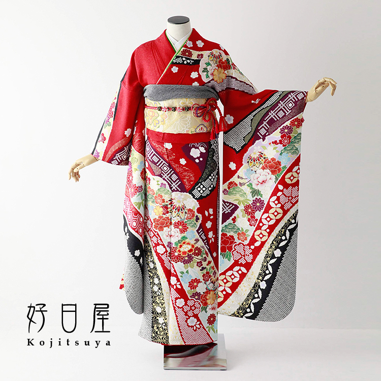 振袖 レンタル フルセット 正絹 着物 【レンタル】 結婚式 成人式 身長161-176cm 赤 re-065-s