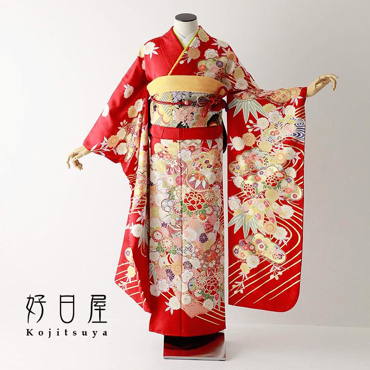 振袖 レンタル フルセット 正絹 着物 【レンタル】 結婚式 成人式 身長157-172cm 赤 re-066-s