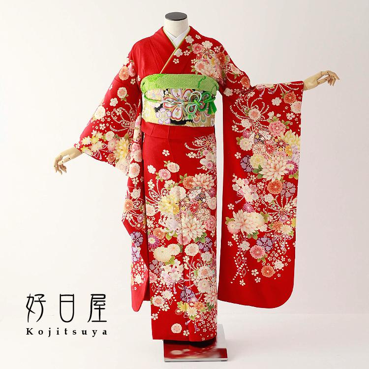 振袖 レンタル フルセット 正絹 着物 結婚式 成人式 身長150-165cm 赤 re-069