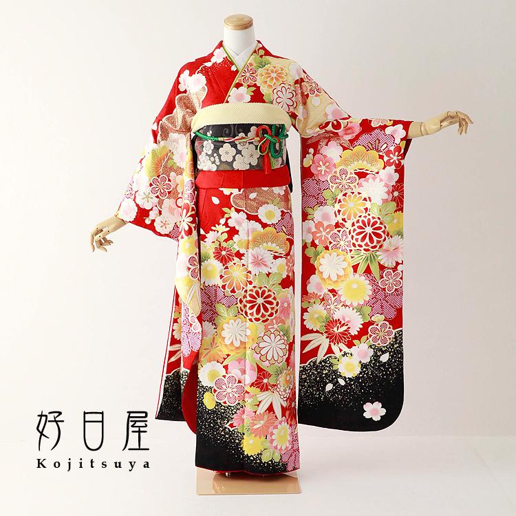 振袖 レンタル フルセット 正絹 着物 【レンタル】 結婚式 成人式 身長152-167cm 赤 re-073