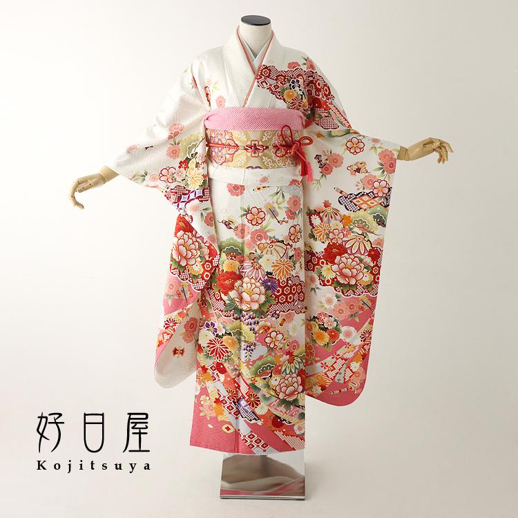 振袖 レンタル フルセット 正絹 着物 【レンタル】 結婚式 成人式 身長150-165cm 白 wh-047