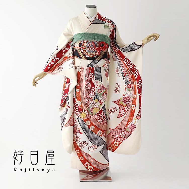 振袖 レンタル フルセット 正絹 着物 【レンタル】 結婚式 成人式 身長153-168cm 白 wh-051-s