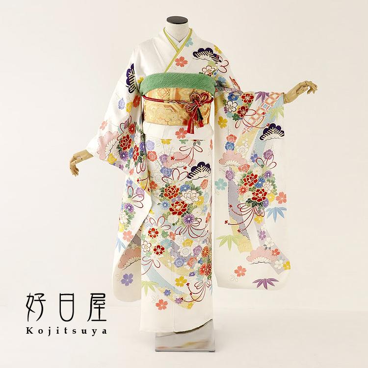 振袖 レンタル フルセット 正絹 着物 【レンタル】 結婚式 成人式 身長159-174cm 白 wh-053-s