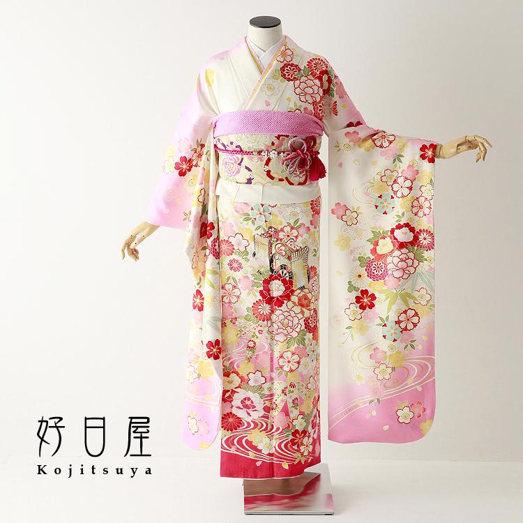 振袖 レンタル フルセット 正絹 着物 【レンタル】 結婚式 成人式 身長152-167cm 白 wh-057