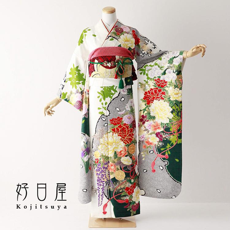 振袖 レンタル フルセット 正絹 着物 結婚式 成人式 身長152-167cm 白 wh-063-s