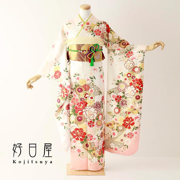振袖 レンタル フルセット 正絹 着物 結婚式 成人式 身長150-165cm 白 wh-065