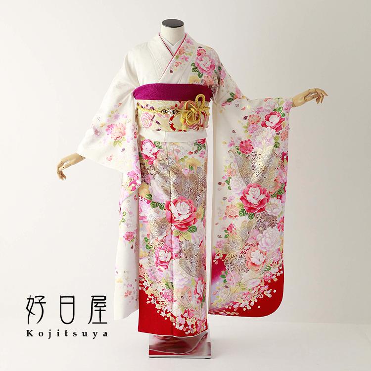 振袖 レンタル フルセット 正絹 着物 【レンタル】 結婚式 成人式 身長152-167cm 白 wh-069