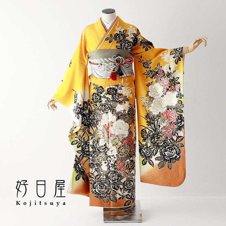 振袖 レンタル フルセット 正絹 着物 結婚式 成人式 身長161-176cm 黄 ye-016-s
