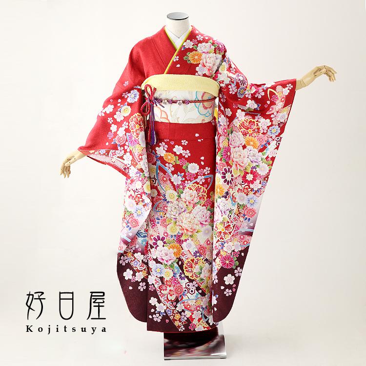 振袖 レンタル フルセット 正絹 着物 【レンタル】 結婚式 成人式 身長161-176cm 赤 re-054