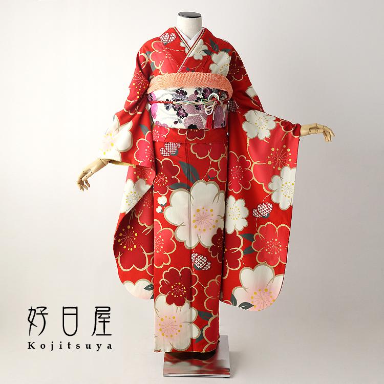 振袖 レンタル フルセット 正絹 着物 【レンタル】 結婚式 成人式 身長153-168cm 赤 re-055