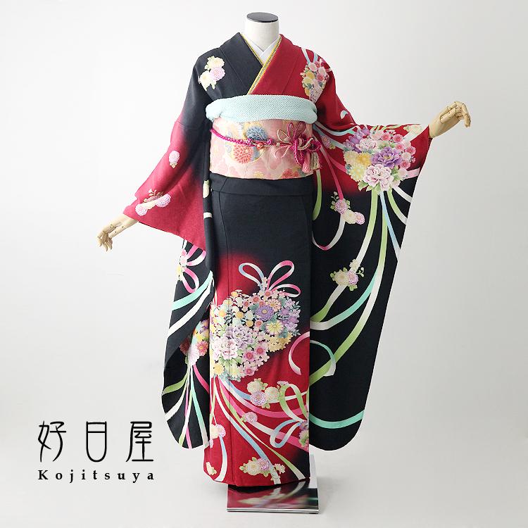 振袖 レンタル フルセット 正絹 着物 【レンタル】 結婚式 成人式 身長157-172cm 黒 bk-048