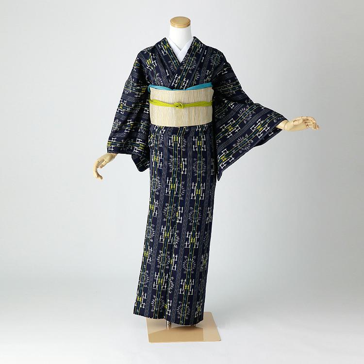単衣 久留米絣 レンタル 紬 夏着物 身長145-159cm hit-007