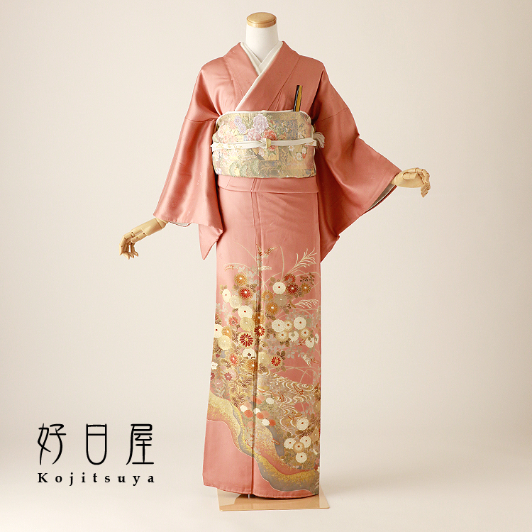 色留袖 レンタル フルセット 正絹 着物 結婚式 身長155-170cm 三つ紋 it-102