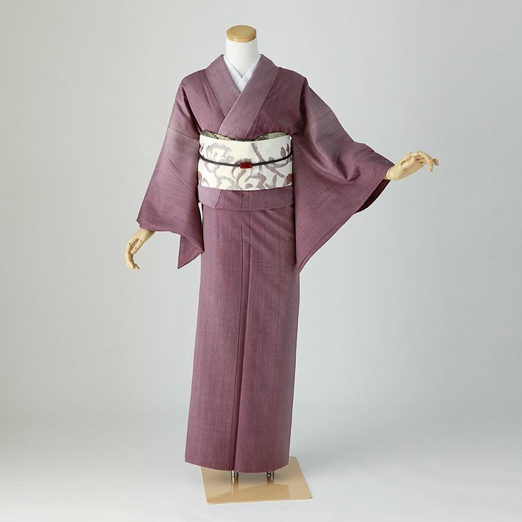 結城紬 レンタル 紫ぼかし 洒落着物 身長145-160cm os-009