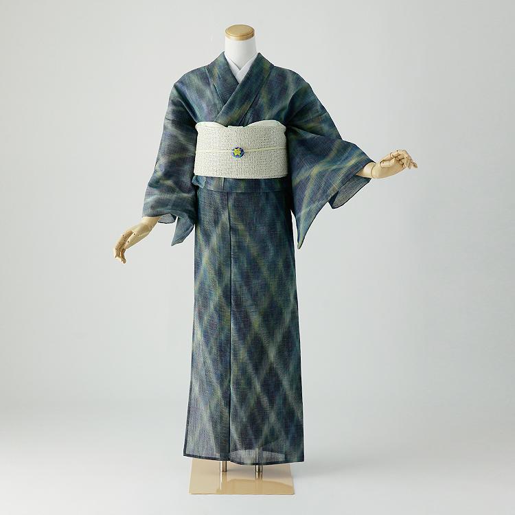 夏 紬 着物 レンタル 身長145-156cm s-011