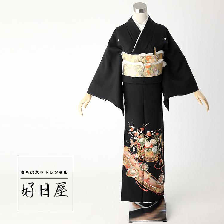 留袖 レンタル フルセット 正絹 着物 結婚式 黒留袖 身長142-157cm 五つ紋 t-044