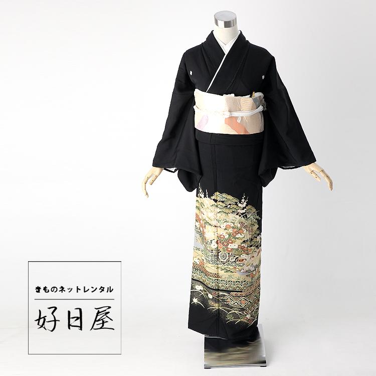 留袖 レンタル フルセット 正絹 着物 結婚式 黒留袖 身長150-165cm 五つ紋 t-046