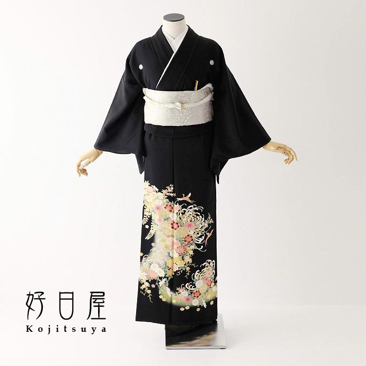 留袖 レンタル フルセット 正絹 着物 結婚式 黒留袖 身長145-160cm 五つ紋 t-062