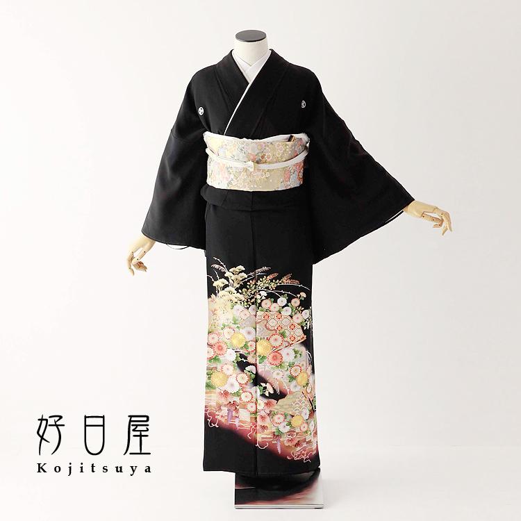 留袖 レンタル フルセット 正絹 着物 結婚式 黒留袖 身長142-157cm 五つ紋 t-072
