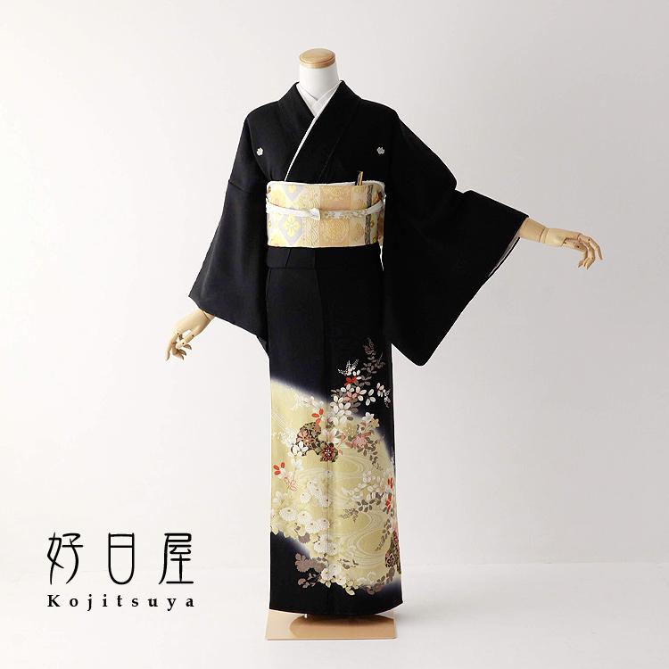 留袖 レンタル フルセット 正絹 着物 結婚式 黒留袖 身長153-168cm 五つ紋 t-076