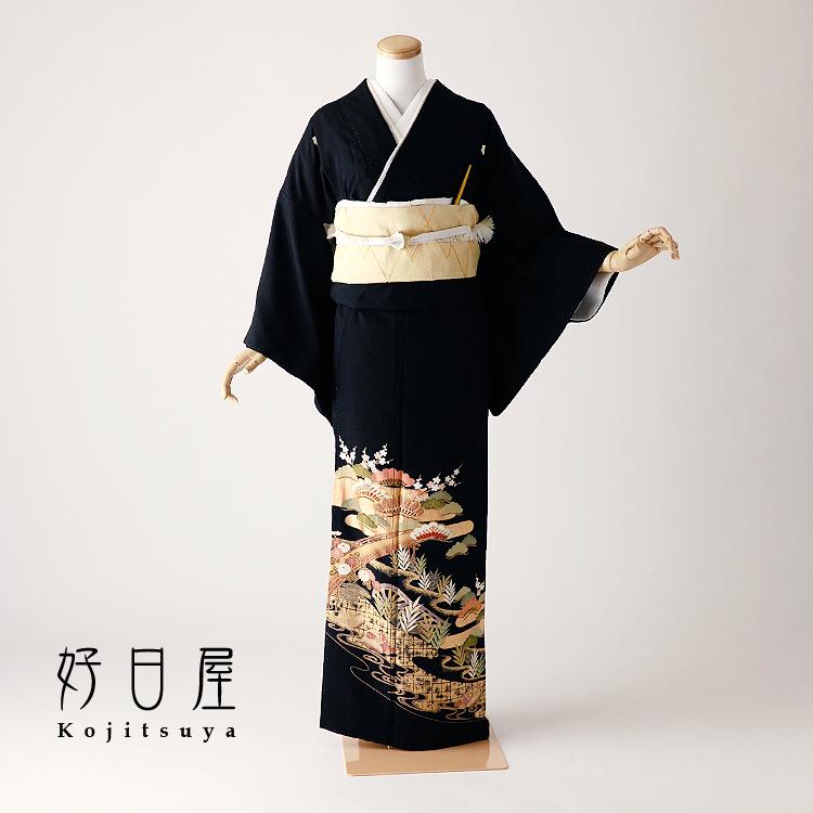 留袖 レンタル フルセット 正絹 着物 結婚式 黒留袖 身長145-159cm 五つ紋 t-077