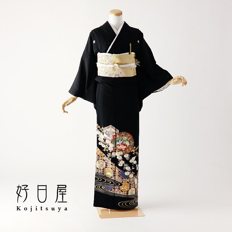 留袖 レンタル フルセット 正絹 着物 結婚式 黒留袖 身長145-160cm 五つ紋 t-083