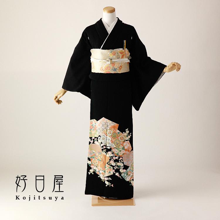 留袖 レンタル フルセット 正絹 着物 結婚式 黒留袖 身長153-168cm 五つ紋 t-095
