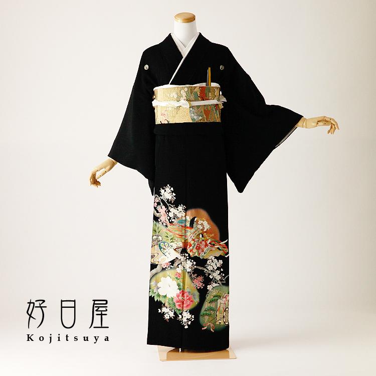 留袖 レンタル フルセット 正絹 着物 結婚式 黒留袖 身長143-158cm 五つ紋 t-098