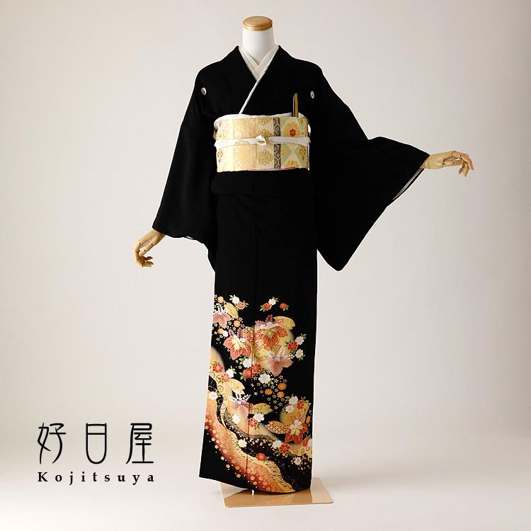留袖 レンタル フルセット 正絹 着物 結婚式 黒留袖 身長155-170cm 五つ紋 t-102