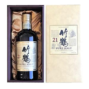 バレンタインの贈り物、ギフトに ニッカ 竹鶴 21年 ピュアモルト(700ml)専用化粧箱付きウヰスキー 北海道余市 ジャパニーズウイスキー