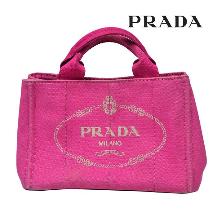 PRADA プラダ カナパ ミニ トートバッグ BN2439 ピンク キャンバス ハンドバッグ ブランドバッグ 【中古】a-2005