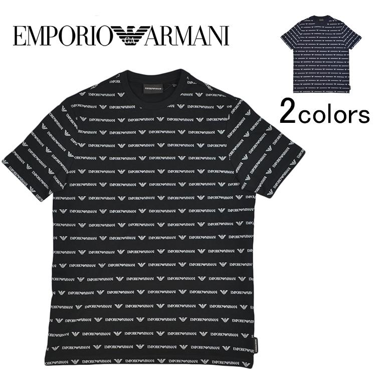 EMPORIO ARMANI エンポリオアルマーニ 3G1T69 1J19Z 0004 0924 ブラック 黒 ネイビー 紺 Tシャツ メンズ 男性用 クルーネック 半袖シャツ 柄シャツ ロゴTシャツ S M L XL XXL サイズ a-1903-