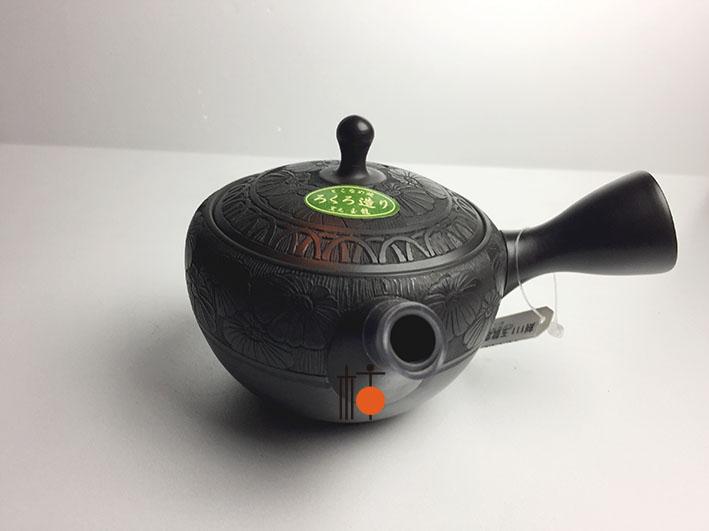 常滑焼 急須 玉龍作窯変碗丸形菊波紋彫 セラメッシュ220cc
