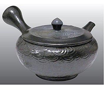 常滑焼 急須 寿仙作 黒釉窯変波紋 8号 140ml セラメッシュ茶こし 木箱入