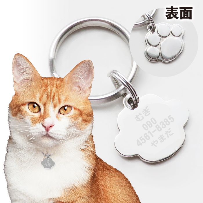 迷子札 迷子 防止 ネームタグ 愛犬 愛猫の名前と飼い主さんの連絡先刻印します デイリーランキング1位 猫 肉球型 犬 ペットタグ 連絡先 名前 売店 最短当日発送 キャットタグ アイテム勢ぞろい 刻印します
