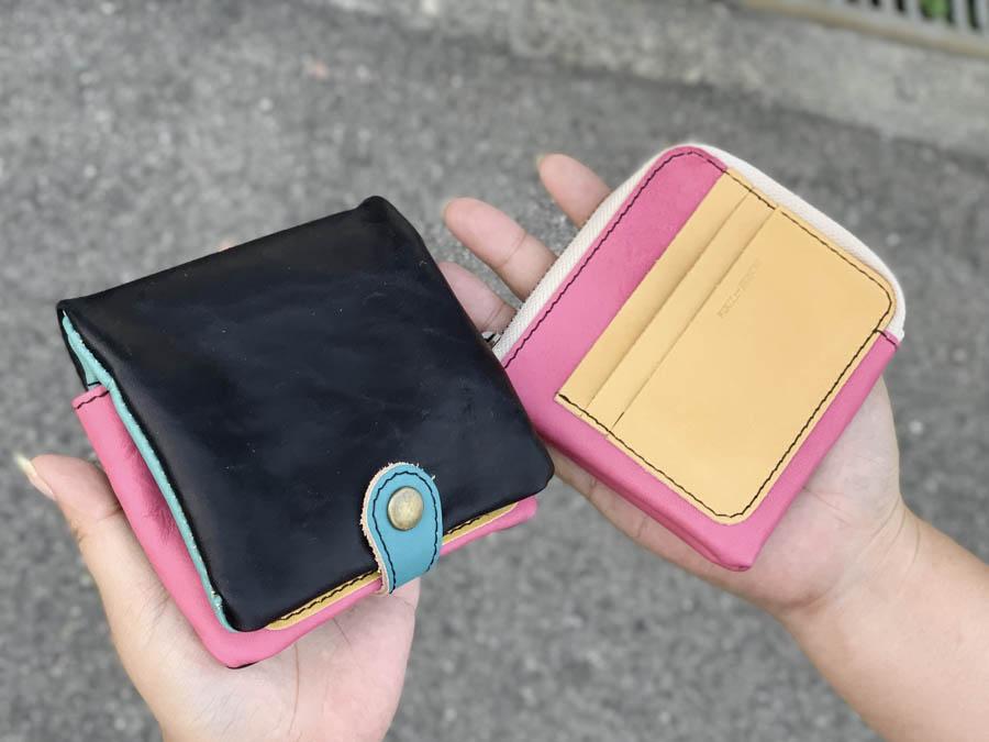 ▲H-PLUMP 気分も上がるネオンカラーMIX「ハーフプランプ 財布」取り出すスリム