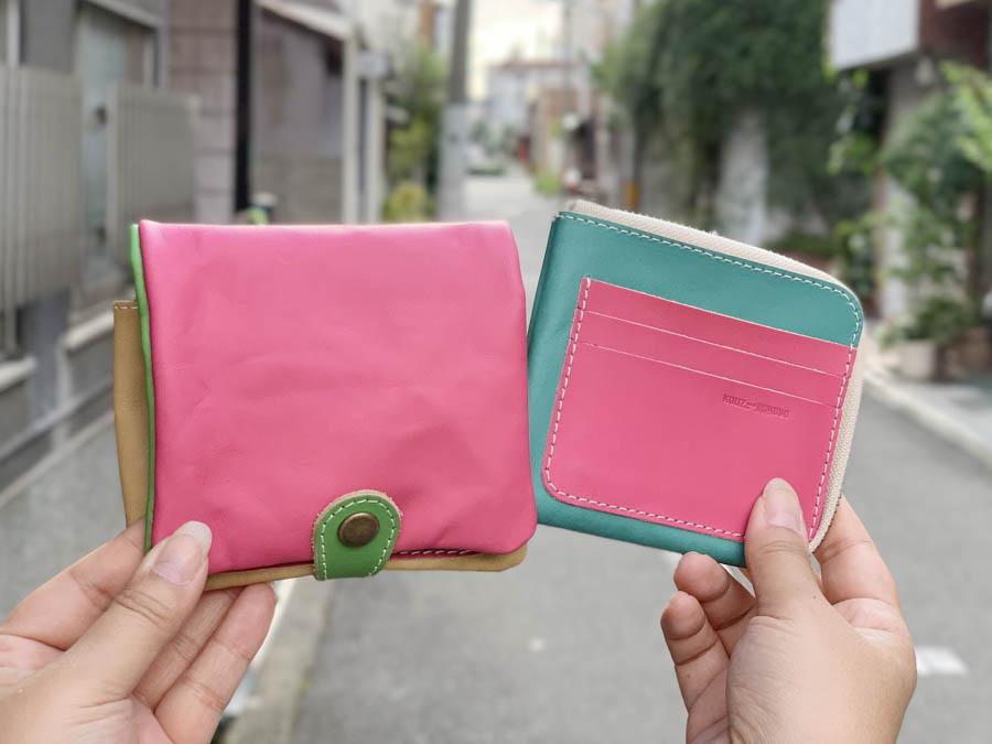 ▲H-PLUMP ドキドキ・ピンクのカラフル「ハーフプランプ 財布」個性的デザイン