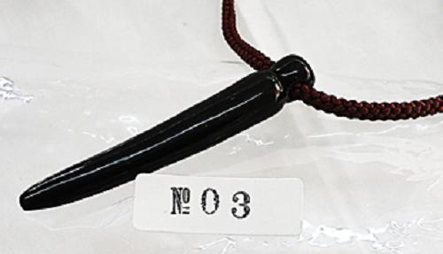 水牛アクセサリー、魔除け角。長さ76.5m/m。黒(天然色)・こけし型。NO.30082201。紐は付いていません。日本製。ゆうメール便OK.