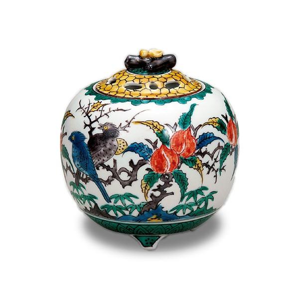 【陶器】九谷焼 3.5号香炉 古九谷花鳥 K5-1476【メール便不可商品】