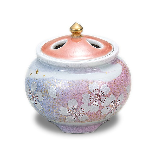 【陶器】九谷焼 2.8号豆香炉 花の舞 K5-1446【メール便不可商品】