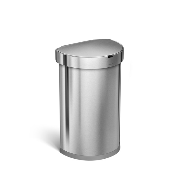 simplehuman (シンプルヒューマン) セミラウンドセンサーダストボックス ライナーポケット付 45L シルバー ゴミ箱/正規販売店