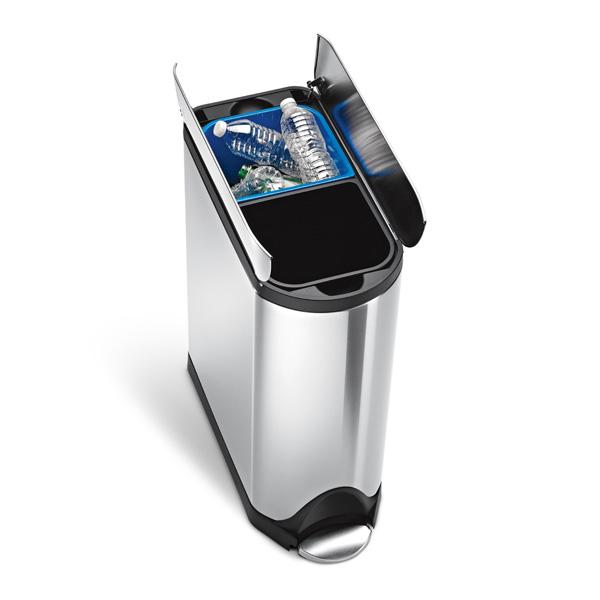 simplehuman (シンプルヒューマン) バタフライステップダストボックス 分別タイプ 40L シルバー ゴミ箱/正規販売店