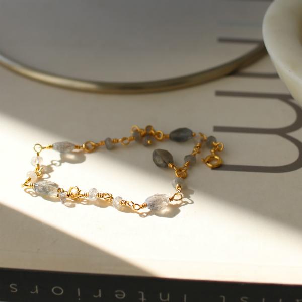 Carre Jewellery (カレ ジュエリー) ブレスレット 15-18.5cm Gem Candy ラブラドライト/ゴールド【ジュエリーボックスプレゼント】