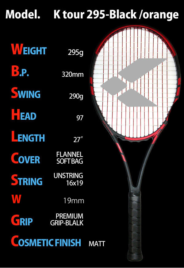 "KPI (Kay P eye) ""K tour 295-Black /orange"" tennis racket"