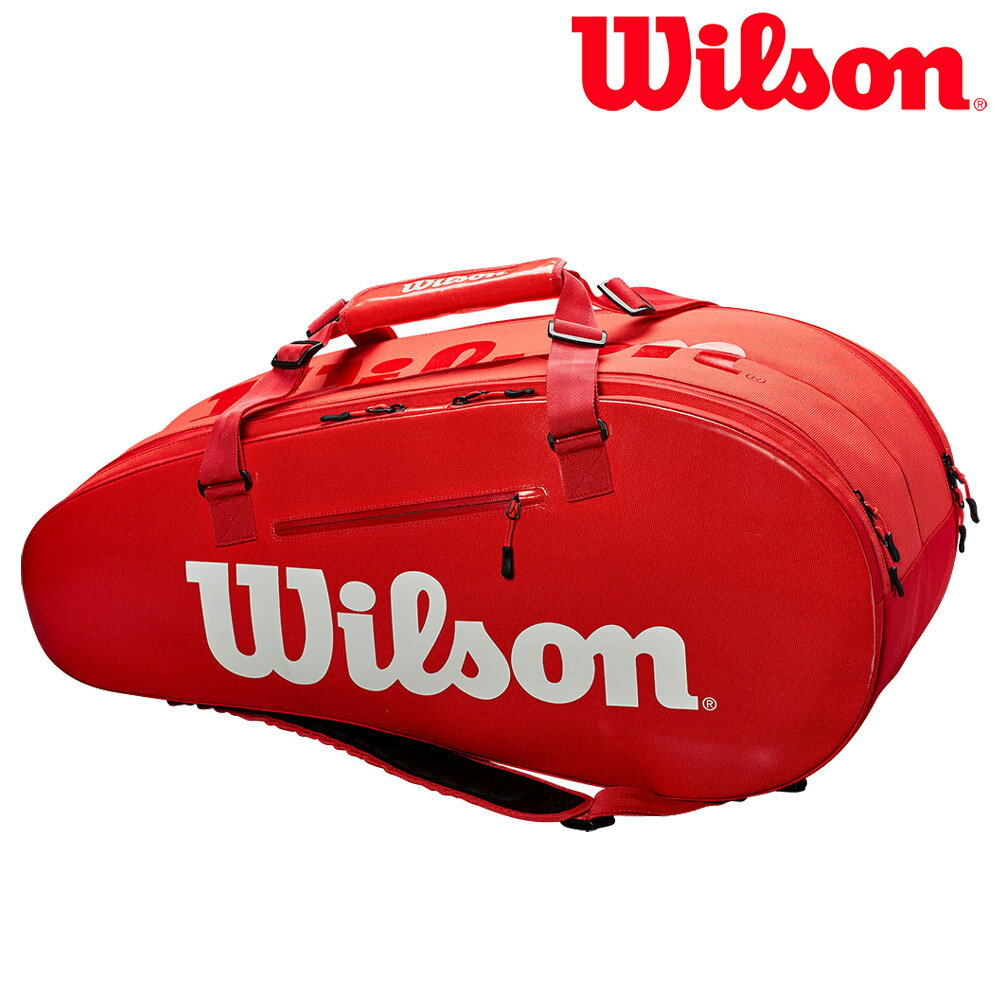 『10%OFFクーポン対象』ウイルソン Wilson テニスバッグ SUPER TOUR 2 COMP LARGE RED ラケットバッグ 9本入 WRZ840809 『即日出荷』「あす楽対応」